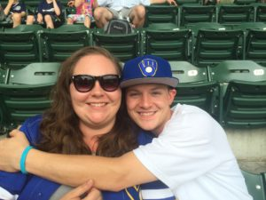 me and my brother at a Brewers game
